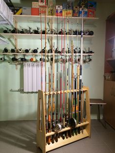Retro collection rod and reel with rod rack Getwood #26