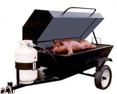 Hog cooker. We made a stainless steel one years ago and it works awsome! Butterfly the pig is the only way to go.