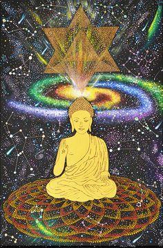 Pintura Original de punto de unidad cósmica, geometría sagrada, constelaciones, Merkaba, galaxia de Buda, Buda de oro, espiritual pintura