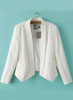 White Lapel Long Sleeve Pockets Crop Blazer - Sheinside.com