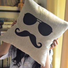 Moustache Print Decorative Pillow:My couch already has enough pillows but I would find room for this guy. totes want this in my room Cute Pillows, Linen Pillows, Diy Pillows, Cotton Pillow, Cotton Linen, Cushions, Throw Pillows, Cushion Covers, Pillow Covers