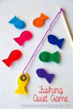 A simple fishing quiet game perfect for toddlers to practice their fine motor skills!