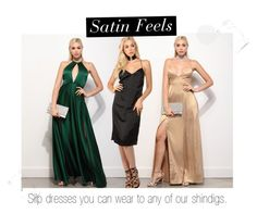 """Satin Feels"" by windsorstore ❤ liked on Polyvore featuring dress, satin and slipdress"