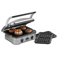 (100) The Cuisinart Griddler and Waffle Maker with Removable Plates has two plates that can be used as a waffle maker, contact grill, panini press, flat grill, and griddle, making it an all-around dynamo