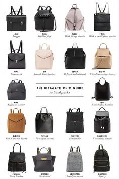 The Chic Guide to Backpacks A complete guide of chic and modern backpacks for the stylish girl who needs a practical alternative to the classic tote. Fashion Terminology, Fashion Terms, Backpack Outfit, Backpack Bags, Fashion Backpack, Herschel Backpack, Leather Backpack Purse, Leather Laptop Bag, Diaper Bag Backpack