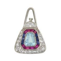 Art Deco Platinum Aqua, Diamond, Ruby, Sapphire Purse Charm