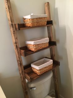 Over the toilet ladder shelf bathroom storage Leaning Bathroom Storage Over Toilet, Toilet Storage, Small Bathroom, Bathrooms, Bathroom Ideas, Bathroom Ladder, Bathroom Stand, Bathroom Updates, Master Bathroom