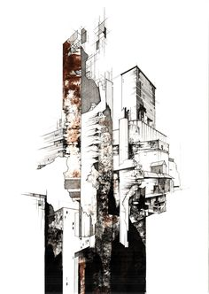 'Grain barns' by Kyle Henderson / 2013. Paper, Ink, Acrylic.