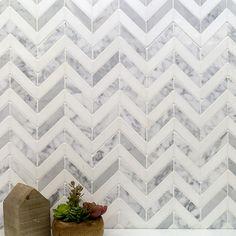 Talon White Carrera and Thassos Marble Tile 4