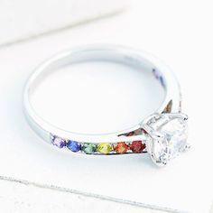 E Wedding Invitation Templates Key: 3545771334 Gay Wedding Rings, Diamond Wedding Rings, Wedding Band, Lesbian Wedding, Wedding Vows, White Gold Sapphire Ring, Lgbt, Rainbow Wedding, Band Engagement Ring