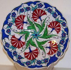 "6 Red Carnation Design Turkish/Ottoman 7"" Handmade Iznik Ceramic Plate"