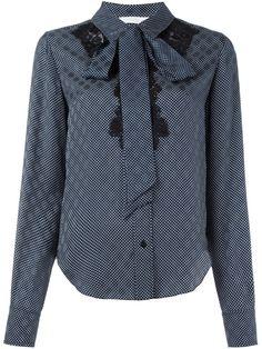 Chloé рубашка в горох с кружевными вставками
