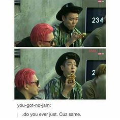 TOP is just enjoying his waffle leave him alone. This makes me laugh everytime I see it (Top Bigbang)