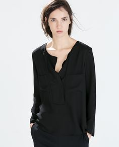Love the minimal details on this. / V-Neck Shirt from Zara