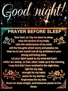 Prayer Before Sleep, Sleep Prayer, Bedtime Prayer, Good Night Prayer, Good Night Blessings, Good Night Quotes, Prayer Times, Prayer Verses, God Prayer