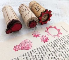 attach wood/rubber stamps to wine corks