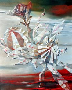 ARTFINDER: Waratah's dreams by Olena Kosenko - This painting continues my new series of paintings inspired by Japanese origami art. I am fascinated with geometry of natural form. With each of my artwork I. Japanese Origami, Origami Art, What Inspires You, Natural Forms, Surrealism, Geometry, Objects, Dreams, Texture
