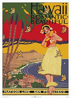 Steamship Navigation Company, San Francisco: 'Hawaii, Romantic, Beautiful.' Original menu cover printed anew in 7 colors on museum-quality canvas with archival inks.
