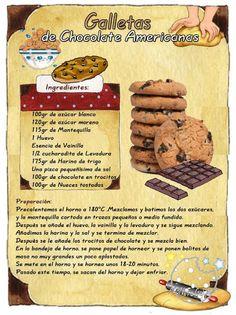 ana + ideas +tips+recetas+videos.blogspot.com.es: GALLETAS  DE CHCOLATE AMERICANAS Easy Cookie Recipes, My Recipes, Sweet Recipes, Dessert Recipes, Favorite Recipes, Tea Cakes, Biscotti, Choco Chips, Vintage Recipes