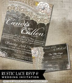 Rustic Lace Wedding Invitation & RSVP-Printable wedding invitation - RSVP with burlap, lace and vintage elements etched wood background. $35.00, via Etsy.