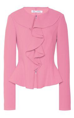 Wool Ruffle Front Jacket by Oscar de la Renta Peplum Jacket, Peplum Tops, Pink Jacket, Blazer Jacket, Square Pants, Jacket Pattern, Work Attire, African Fashion, Blouse Designs
