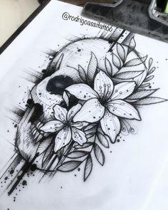 Skull Tattoo Design, Tattoo Design Drawings, Pencil Art Drawings, Tattoo Sketches, Tattoo Designs, Skull Rose Tattoos, Body Art Tattoos, Sleeve Tattoos, Cool Tattoos