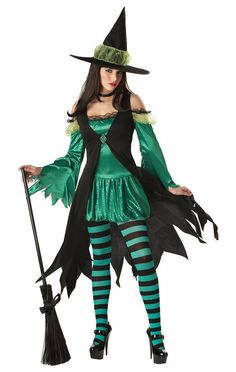 Wizard of Oz Emerald Witch Adult Halloween Costume #CaliforniaCostume #CompleteCostume