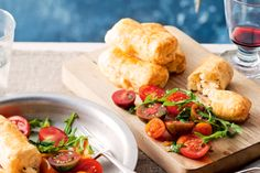 The just-made fresh tomato and mint salad is perfect with these salty cheesy pastry puffs.
