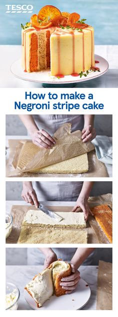 This citrus showstopper turns Meghan Markle's favourite cocktail into a stunning celebration cake. Striped sponge layers, zesty orange buttercream, Campari syrup and candied oranges transform the juniper sponge into a Negroni-themed masterpiece. | Tesco