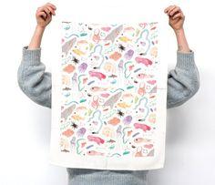 Terror Australis tea towel design by Min Pin. Baby Helmet, Design Awards, Decoration, Tea Towels, Gift Guide, Cool Designs, Etsy Shop, Crafty, Prints