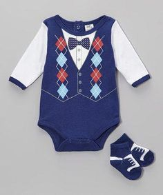 Loving this Baby Essentials Navy Argyle Vest Bodysuit & Socks - Infant on Baby Outfits Newborn, Baby Boy Outfits, Newborn Clothing, Boy Clothing, Crochet Baby Dress Free Pattern, Vest And Bow Tie, Maternity Dresses For Baby Shower, Girls Christmas Outfits, Fancy Dress For Kids