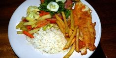 Vegetables, Fries, Fish and Rice