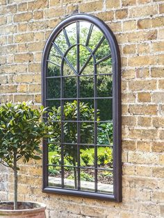 Buy Antique Bronze Fura Outdoor Garden Wall Window Style Arched Mirror, 131 x from our Mirrors range at John Lewis & Partners. Garden Wall Designs, Garden Wall Art, Garden Design, Small Garden Wall Ideas, Back Garden Ideas, Vertical Garden Wall, Garden Walls, Garden Floor, Back Gardens
