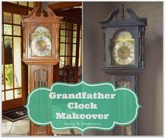 Easy grandfather clock makeover using Annie Sloan Chalk Paint in graphite. Frm bd: Painted Furniture