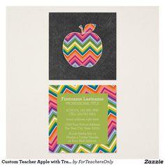 Custom Teacher Apple with Trendy Chevron Pattern Square Business Card
