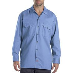Dickies 574GB L Mens Long Sleeve Twill Work Shirt, Gulf Blue Large
