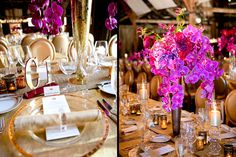 Tall violet, fuchsia and pink orchid, lilies and dahlia centerpieces in tall gold vases on rose gold kings tables. Design by Waterlily Pond Studio www.waterlilypond.com. Larissa Cleveland Photography. Santa Lucia Preserve, Carmel Valley, California.