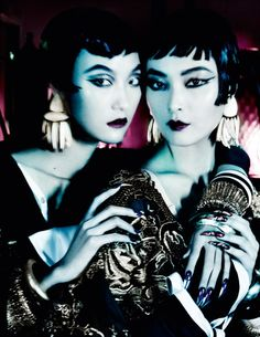 The March 2013 issue of British Vogue features the story 'Orient Excess', photographed by Mario Testino and styled by Lucinda Chambers with hair by Sam McKnight and makeup by Linda Cantello. The editorial features models Fei Fei Sun, Sui He, Sung Hee Kim and Ji Hye Park.