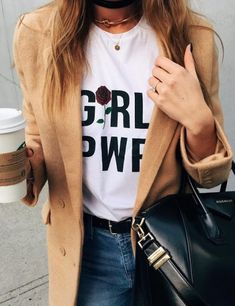 Every girl's wardrobe needs a Girl Power Printing T-Shirt | Let Your Slogan T-shirt Be Your Fashion Statement