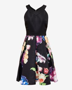 Tapestry Floral pleated dress - Black | Dresses | Ted Baker