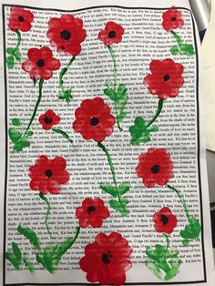 DONE: ANZAC work. National Anthem background with fingerprint poppy foreground. Very cool. Remembrance Day Activities, Remembrance Day Art, Anzac Poppy, Ww1 Art, Poppy Craft, Anzac Day, Middle School Art, Teaching Art, Teaching Ideas