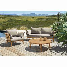 Gartenbank 2/3-Sitzer aus massivem Akazienholz und taupefarbenen Kissen | Maisons du Monde