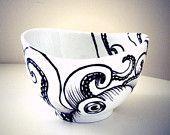 Octopus Bowl Ceramic Black and White Hand Painted Kraken Sea Creature Nautical Home Decor Serving Bowl Decorative