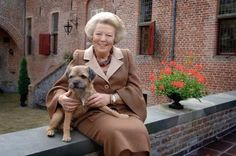 Queen Beatrix of the Netherlands with her Border Terrier Chip