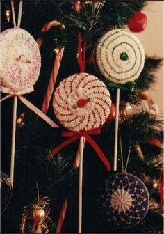 Lollipops and roses smocked Christmas ornaments