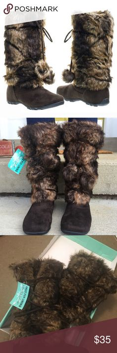 NWT! Still in box! Fur Boots Size 6 These faux fur boots are adorable and BRAND NEW. They still have the tag and are in the original box. Super comfy and super warm! There are two fur Pom Poms and lace up string on each boot! Fleece lined. Size 6 Shoes Winter & Rain Boots