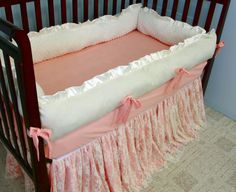 Peaches and Cream Lace Baby Crib Bedding by WHIMSICALandWITTY