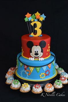 Mickey Mouse theme cake by K Noelle Cakes