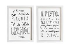 "Italy PESTO and LA CUCINA Print Set 11""x15"", Hand-lettered typography art italian kitchen italy quote - archival fine art giclée prints on Etsy, $80.00"