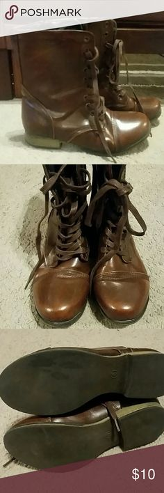 Dark Brown Combat Boots Cute dark brown combat boots from Shoes of Soul. Excellent used condition, no wear on toe or heel. There is a weird black stain on bottom of foot, but doesn't take away from the shoe at all. Shoes for Soul Shoes Combat & Moto Boots